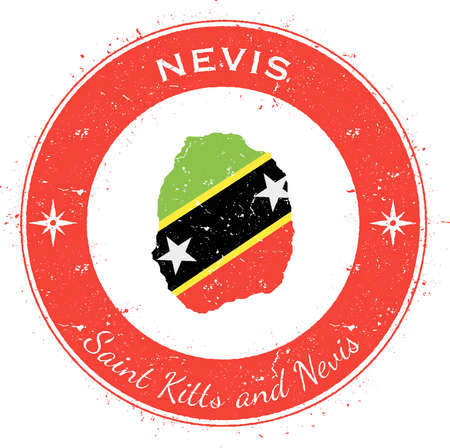 caribbean cruise: Nevis circular patriotic badge. Grunge rubber stamp with island flag, map and name written along circle border, vector illustration.