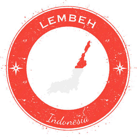 Lembeh circular patriotic badge. Grunge rubber stamp with island flag, map and name written along circle border, vector illustration.