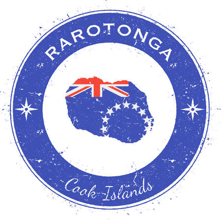 texturized: Rarotonga circular patriotic badge. Grunge rubber stamp with island flag, map and name written along circle border, vector illustration. Illustration
