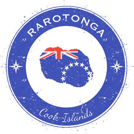 compas: Rarotonga circular patriotic badge. Grunge rubber stamp with island flag, map and name written along circle border, vector illustration. Illustration