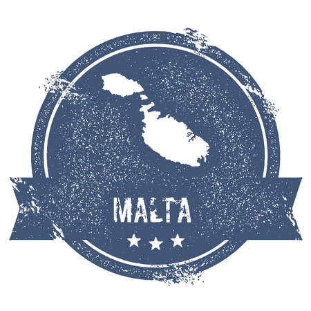 maltese map: Malta logo sign. Travel rubber stamp with the name and map of island, vector illustration. Can be used as insignia, logotype, label, sticker or badge. Illustration