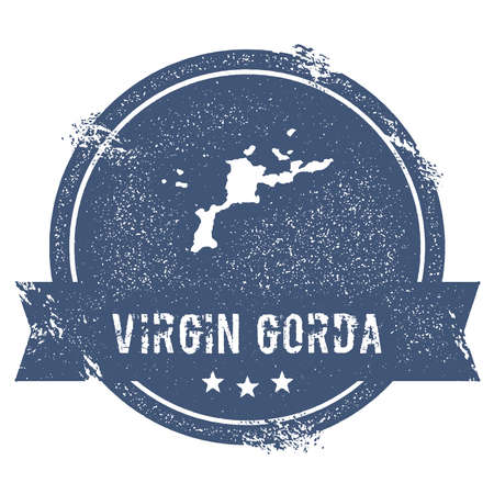 Virgin Gorda logo sign. Travel rubber stamp with the name and map of island, vector illustration. Can be used as insignia, logotype, label, sticker or badge.