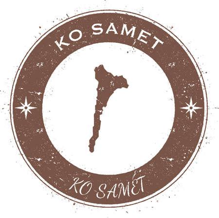 ko: Ko Samet circular patriotic badge. Grunge rubber stamp with island flag, map and name written along circle border, vector illustration.