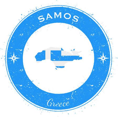 Samos circular patriotic badge. Grunge rubber stamp with island flag, map and name written along circle border, vector illustration. Çizim