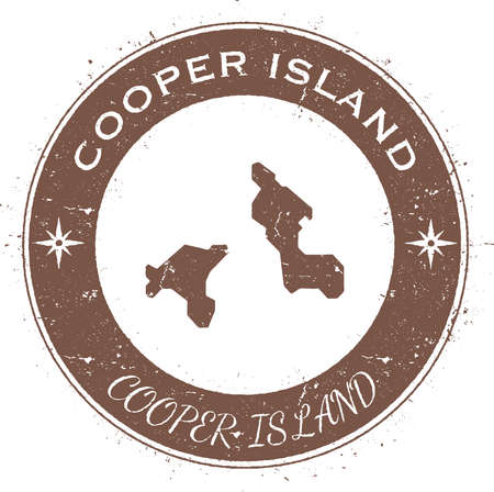 cooper: Cooper Island circular patriotic badge. Grunge rubber stamp with island flag, map and name written along circle border, vector illustration.