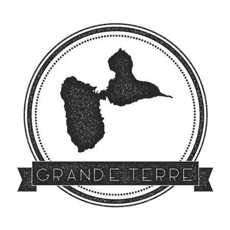 Grande-Terre map stamp. Retro distressed insignia. Hipster round badge with text banner. Island vector illustration.