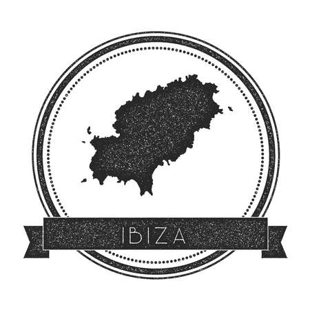 nationalist: Ibiza map stamp. Retro distressed insignia. Hipster round badge with text banner. Island vector illustration.
