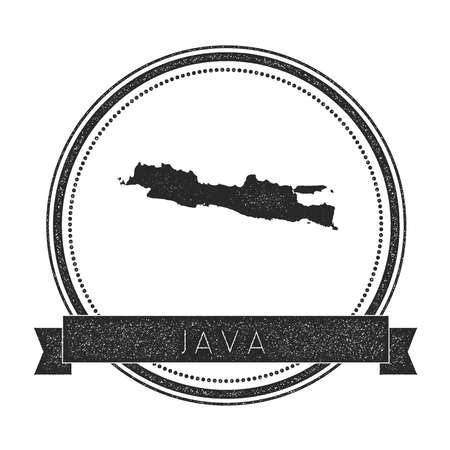 Java map stamp. Retro distressed insignia. Hipster round badge with text banner. Island vector illustration.