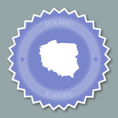 Poland badge flat design. Round flat style sticker of trendy colors with country map and name. Country badge vector illustration.