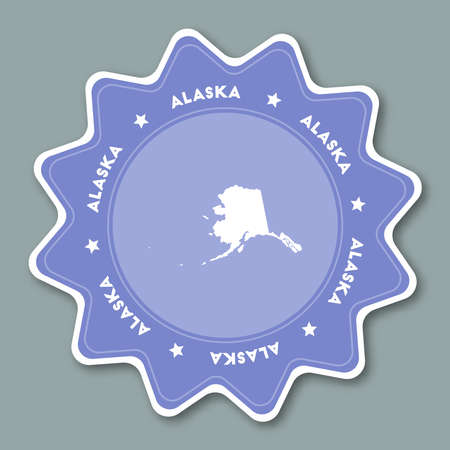 Alaska map sticker in trendy colors. Travel sticker with US state name and map. Can be used as logo, badge, label, tag, sign, stamp or emblem. Travel badge vector illustration.