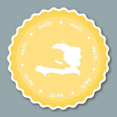 Haiti sticker flat design. Round flat style badges of trendy colors with country map and name. Country sticker vector illustration.