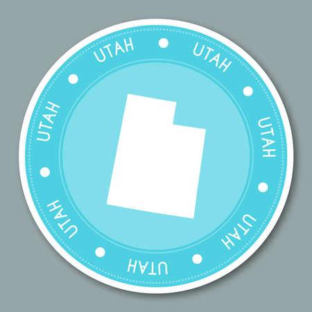 ユタ州ラベル フラット ステッカー デザイン。愛国心が強い米国の状態マップは円形ラベルです。ラウンド バッジ ベクトル イラスト。  イラスト・ベクター素材