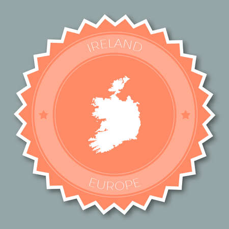 Ireland badge flat design. Round flat style sticker of trendy colors with country map and name. Country badge vector illustration.