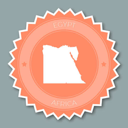 undefined: Egypt badge flat design. Round flat style sticker of trendy colors with country map and name. Country badge vector illustration.