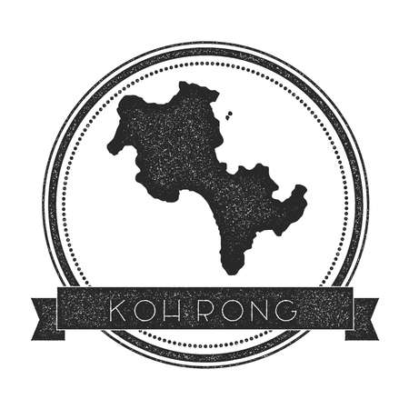 Koh Rong map stamp. Retro distressed insignia. Hipster round badge with text banner. Island vector illustration.