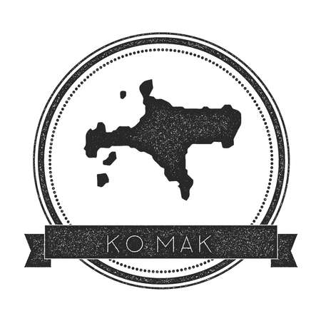 Ko Mak map stamp. Retro distressed insignia. Hipster round badge with text banner. Island vector illustration.