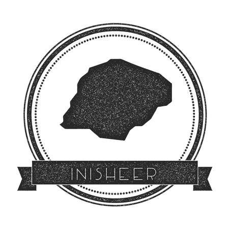 Inisheer map stamp. Retro distressed insignia. Hipster round badge with text banner. Island vector illustration.
