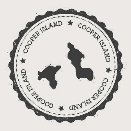 foreigner: Cooper Island sticker. Hipster round rubber stamp with island map. Vintage passport sign with circular text and stars, vector illustration. Illustration