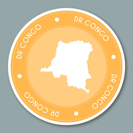 Congo the democratic republic of the label flat sticker design patriotic country map round