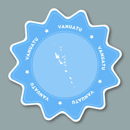 Vanuatu map sticker in trendy colors. Star shaped travel sticker with country name and map. Illustration