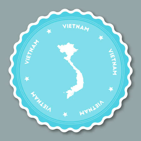 undefined: Vietnam sticker flat design. Round flat style badges of trendy colors with country map and name. Country sticker vector illustration. Illustration