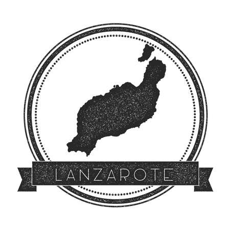 Lanzarote map stamp. Retro distressed insignia. Hipster round badge with text banner. Island vector illustration.