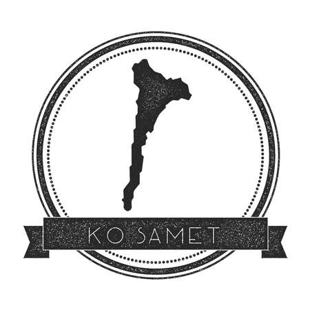 ko: Ko Samet map stamp. Retro distressed insignia. Hipster round badge with text banner. Island vector illustration.