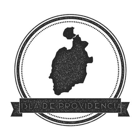 Isla de Providencia map stamp. Retro distressed insignia. Hipster round badge with text banner. Island vector illustration.