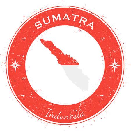 Sumatra circular patriotic badge. Grunge rubber stamp with island flag, map and name written along circle border, vector illustration. Vetores