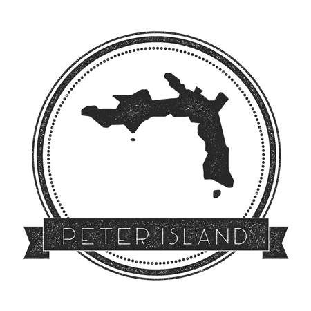 Peter Island map stamp. Retro distressed insignia. Hipster round badge with text banner. Island vector illustration.