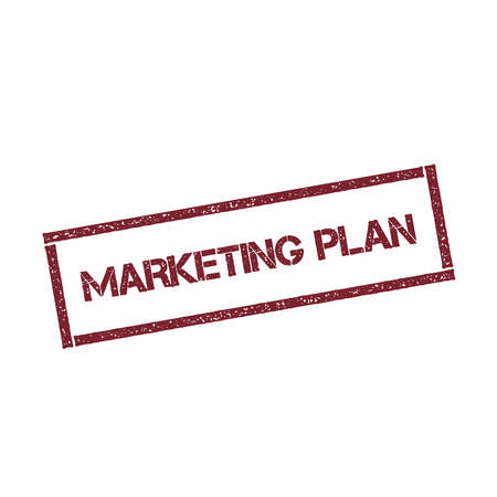 grain: Marketing plan rectangular stamp. Textured red seal with text isolated on white background, vector illustration.