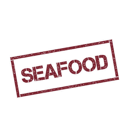 Seafood rectangular stamp. Illustration