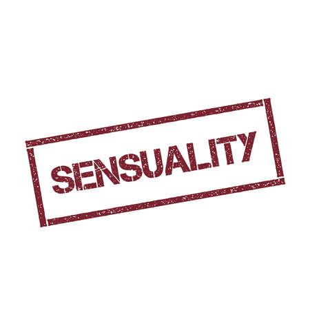 Sensualité cachet rectangulaire. Sceau rouge texturé avec texte isolé sur fond blanc, illustration vectorielle. Banque d'images - 82733340