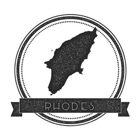 Rhodes map stamp. Retro distressed insignia. Hipster round badge with text banner. Island vector illustration. Illustration
