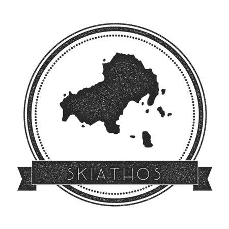 Skiathos map stamp. Retro distressed insignia. Hipster round badge with text banner. Island vector illustration. Illustration