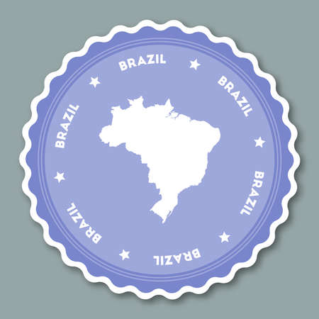 Brazil sticker flat design. Round flat style badges of trendy colors with country map and name. Country sticker vector illustration.