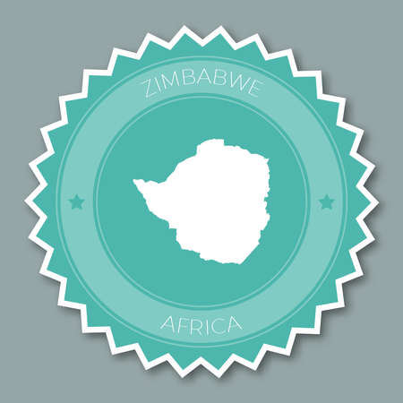 Zimbabwe badge flat design. Round flat style sticker of trendy colors with country map and name