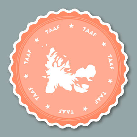 French Southern Territories sticker flat design. Round flat style badges of trendy colors with country map and name vector illustration.