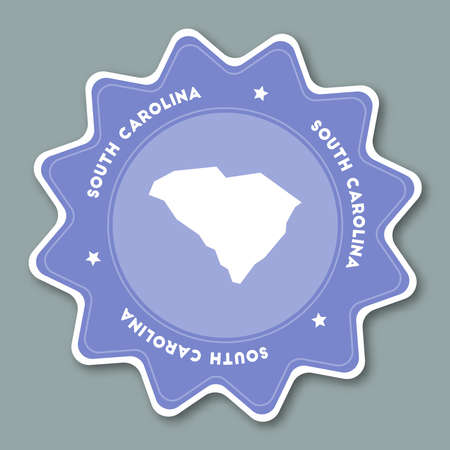 South Carolina map sticker in trendy colors. Travel sticker with US state name and map. Can be used as logo, badge, label, tag, sign, stamp or emblem. Travel badge vector illustration.