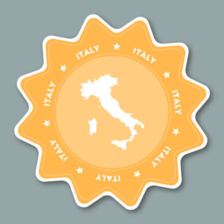 Italy map sticker in trendy colors. Star shaped travel sticker with country name and map. Can be used as logo, badge, label, tag, sign, stamp or emblem. Travel badge vector illustration.