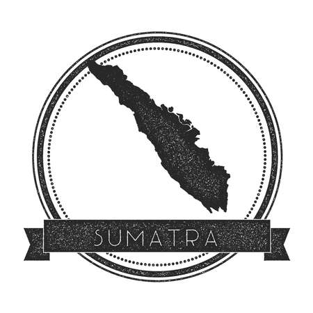 indo: Sumatra map stamp. Retro distressed insignia. Hipster round badge with text banner. Island vector illustration.