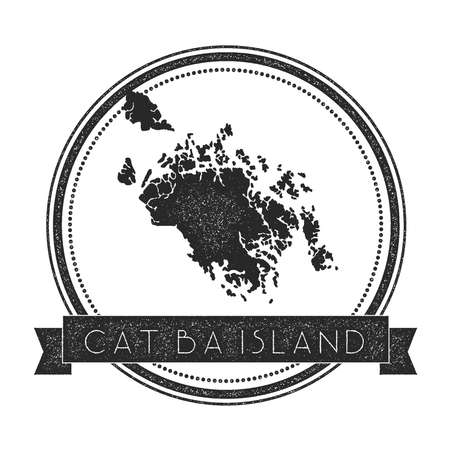 socialist: Cat Ba Island map stamp. Retro distressed insignia. Hipster round badge with text banner. Island vector illustration.