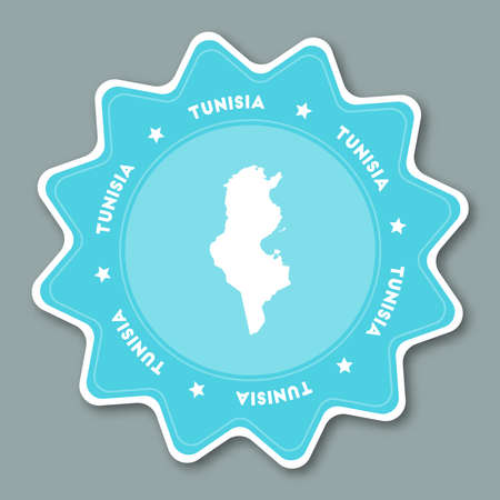 Tunisia map sticker in trendy colors. Star shaped travel sticker with country name and map. Can be used as logo, badge, label, tag, sign, stamp or emblem. Travel badge vector illustration. Illustration