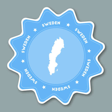 Sweden map sticker in trendy colors. Star shaped travel sticker with country name and map. Can be used as logo, badge, label, tag, sign, stamp or emblem. Travel badge vector illustration. Illustration