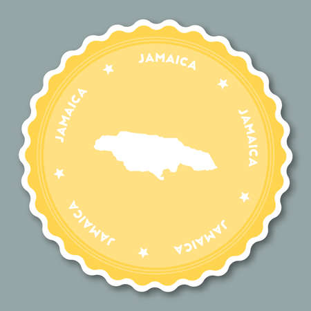 Jamaica sticker flat design. Round flat style badges of trendy colors with country map and name. Country sticker vector illustration.