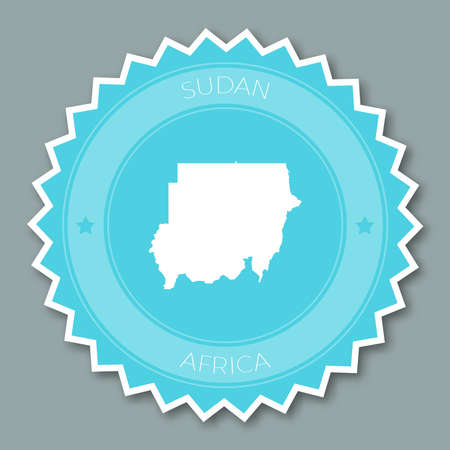Sudan badge flat design. Round flat style sticker of trendy colors with country map and name. Country badge vector illustration.