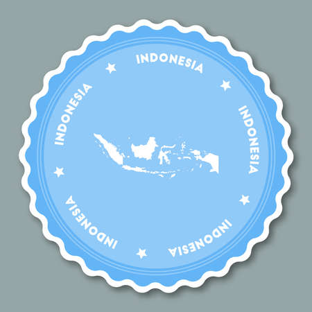 indo: Indonesia sticker flat design. Round flat style badges of trendy colors with country map and name. Country sticker vector illustration.