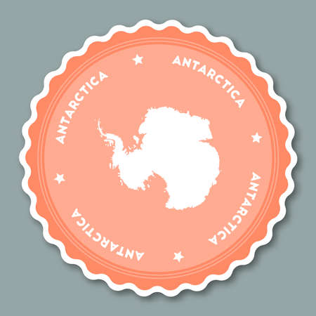 Antarctica sticker flat design. Round flat style badges of trendy colors with country map and name. Country sticker vector illustration.