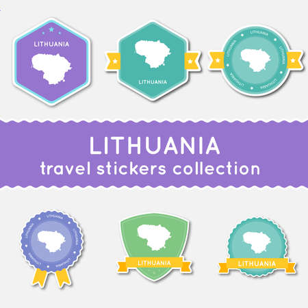 Lithuania travel stickers collection. Big set of stickers with country map and name. Flat material style badges vector illustration.