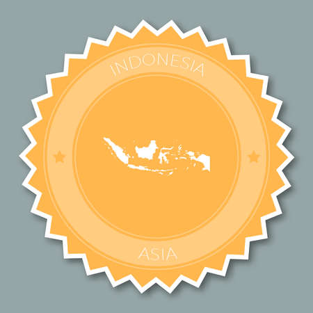 Indonesia badge flat design. Round flat style sticker of trendy colors with country map and name. Country badge vector illustration.